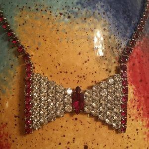 Faux Ruby & Diamond Bowtie Necklace